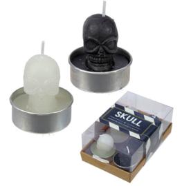 Set van 6 doodskop kaarsen 4 cm hoog