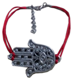 Kabbalah red string rood koord armband met grote hamsa
