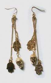 Goudkleurige hangoorbellen hamsa boeddhahoofden