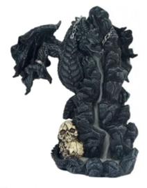 Gothic Draak op Doodskoppen - *backflow* wierookkegel brander 3 - 20 cm hoog