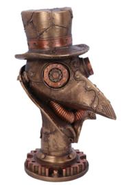 Beaky -  bronskleurig Steampunk beeld van een pestdokter - 23 cm hoog