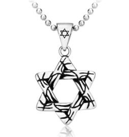 Davidster Joodse ketting 316 titaniumstaal dessin 2 - 5 x 3 cm