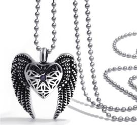 Crematie assieraad nekketting 316 roestvrije staal hart met vleugels en strass steentje - 2.6 cm hoog