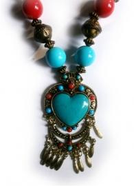 Tibetaanse ketting turquoise hart
