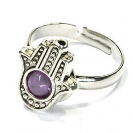 Hamsa ring paars