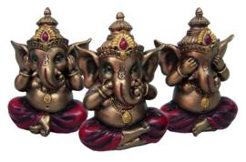 3 Wise Ganesha's - 10 cm hoog