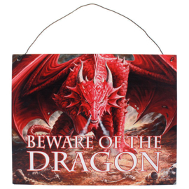 Metalen wandbord Anne Stokes - Beware of the Dragon - 19 x 24 cm