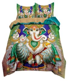 Dekbedovertrek met twee kussenhoezen - Ganesha groen - 200 x 200 cm