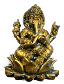 Bronskleurige Ganesha op lotus met boek 7 cm hoog