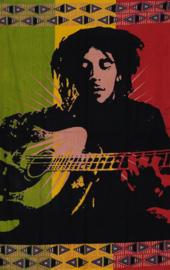 Een persoons bedsprei, wandkleed Bob Marley Guitar - 140 x 200 cm