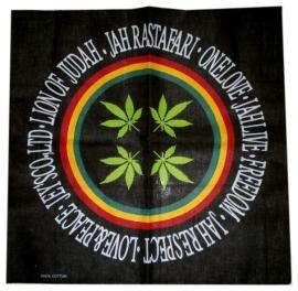 Bandana / wandkleed / tafelkleed Rastafari Lion of Judah wietbladen  - ca. 55 x 55 cm