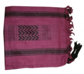 Arafatsjaal / Shemagh / Palestijnse sjaal  roze zwart zware kwaliteit - double dye