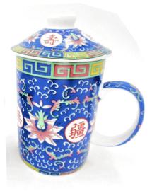 Driedelige porseleinen theemok - 14 x 7 cm - Blauw met roze lotus