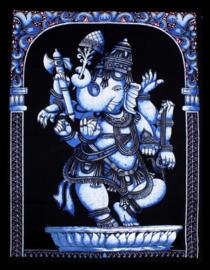 Indiase muurkleed wandkleed Ganesha blauw dessin 2 - c.a.  80 x 110 cm