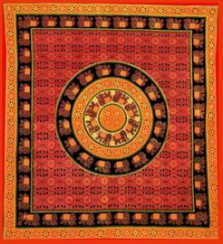 Bedsprei, wandkleed, grand foulard Olifanten mandala rood oranje - 220 x 240 cm