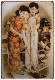 Blikken metalen wandbord Vintage Chinese Dames 20 x 30 cm