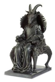 Satan op Troon met Geitenhoofd Zwart - 23 x 10.5 x 13.5 cm