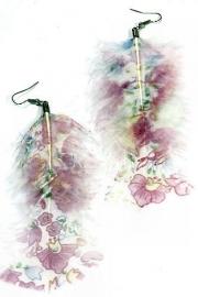 Veeroorbellen roze lila geprent