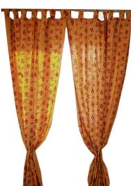 Indiase katoenen gordijnen geel met vis dessin - 100 x 225 cm