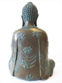 Mediterende Thaise Boeddha Brons Groen - 18 x 22 cm