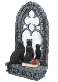 Familiar Reflection - Gothic Wicca spiegel met zwarte katten - 35.5cm