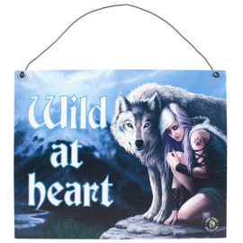 Metalen wandbord Anne Stokes - Wild at Heart - wolf - 19 x 24 cm