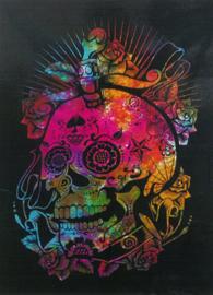 Muurkleed Wandkleed Dag van de Doden Doodskop met Rozen gekleurd  - 80 x 110 cm