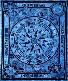 Bedsprei wandkleed grand foulard Indiase katoen keltisch cycle of the ages 210 x 240 cm