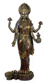 Lakshmi godin van licht rijkdom en geluk bronskleurige polystone beeld hg 50 cm