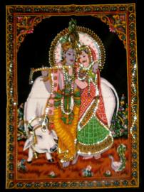 Indiase Hindu god wandkleed Krishna Radha Heilige Koe  40 x 55 cm