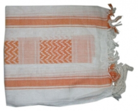 Arafatsjaal / Shemagh / Palestijnse sjaal oranje wit - zware kwaliteit