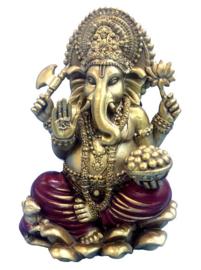Beeld Ganesha rood goud 16.5 cm hoog