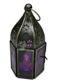 Marokkaanse style lantaren met paars glas 14 x 7 cm