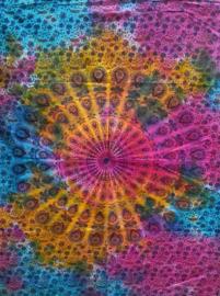 Muurkleed Wandkleed Mandala gekleurd  - 80 x 110 cm