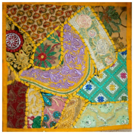 Indiase kussenhoes lapjesdessin geel dessin 2 - 40 x 40 cm