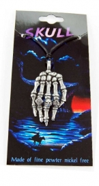 Pewter hanger skeletale hand