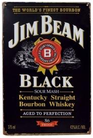 Blikken metalen wandbord Jim Beam Black 20 x 30 cm