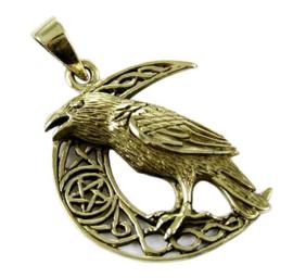 Ketting brons Raaf in Keltische Maan dessin Lisa Parker