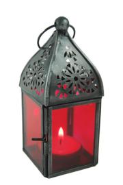 Marokkaanse style glazen lantaren graflicht rood - 13 cm hoog