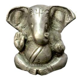 Ganesha met grote oren beeld verzilverde brons 4 cm hoog