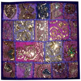 Indiase kussenhoes lapjesdessin met glitters paars - 40 x 40 cm