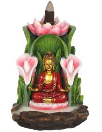 Backflow wierookbrander gekleurde Thaise Boeddha - 14 cm hoog