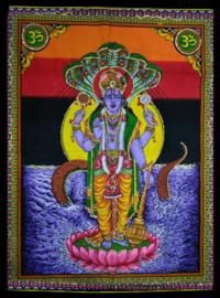 Indiase wandkleed muurkleed katoen Vishnu with Nagas - c.a. 80 x 110 cm
