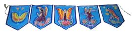 5 vlaggen Butterfly Goddess batik doeken uit Bali - 40 x 50 cm