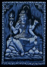 Indiase wandkleed muurkleed katoen Shiva driekleurig zwart wit blauw - c.a.  80 x 110 cm