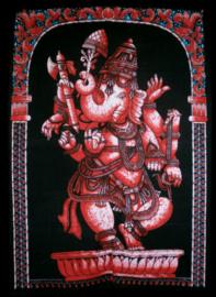 Indiase muurkleed wandkleed Ganesha rood dessin 2 - c.a.  80 x 110 cm