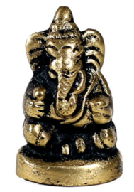 Minibeeld Ganesha - messing - 3 cm hoog