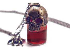 Vampierenketting met bronskleurige doodskop, spin en flesje nepbloed