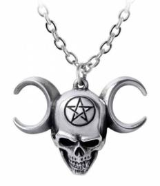Alchemy Gothic design nekketting - Lune Mystique - doodskop pentagram drievoudige maan - 4.3 cm breed