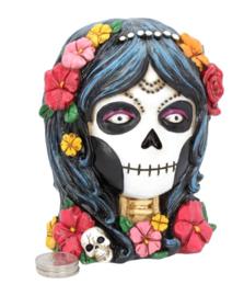 Deathlea - spaarpot - Dag van de Doden - suiker schedel doodskop - 13 cm hoog